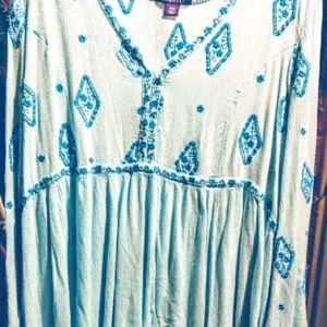 Roaman's Embroidered Blue Gauzy Tunic Size 28W